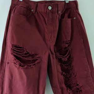 American Eagle Relaxed Mom Jeans Burgundy Size 12